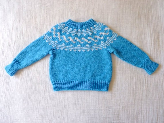 Vintage sweater, 2T. Wool. Blue with white design. 18 to 24 months.