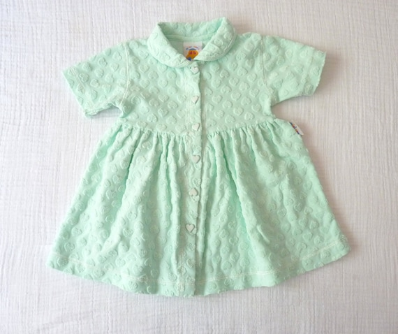 80s girls dress, mint green with hearts, 12 to 18 months.