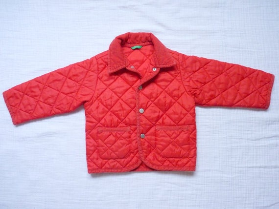 Vintage jacket, 18 months. Red quilted hunting jacket with corduroy collar