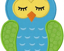 Instant Download Sleep owl Applique Machine embroidery Design NO:1146