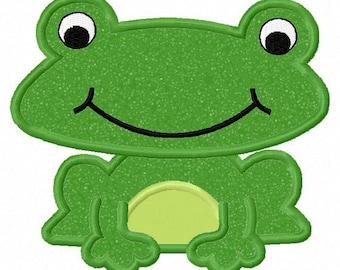 Instant Download Frog Applique Machine Embroidery Design NO:1121