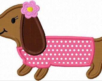 Instant Download Girl Dachshund Dog  Applique Machine Embroidery Design NO:1152