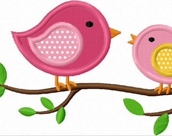 Instant Download Two Birds on the Branch  Applique Embroidery machine Design NO:1153