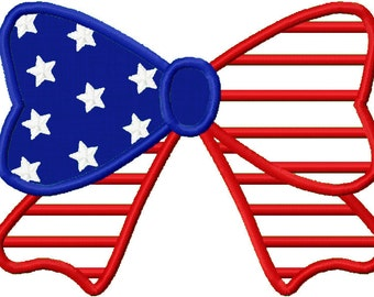 Independence Day  American Flag Bowknot  Applique Machine Embroidery Design NO:1159