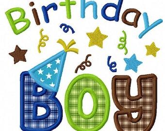 Instant Download Birthday Boy  Applique Machine Embroidery Design NO:1165