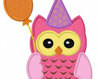 Instant Download Birthday owl  Applique Machine Embroidery Design NO:1167