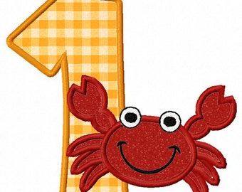 Instant Download Crab Birthday Numbers Applique Machine Embroidery Design NO:1168