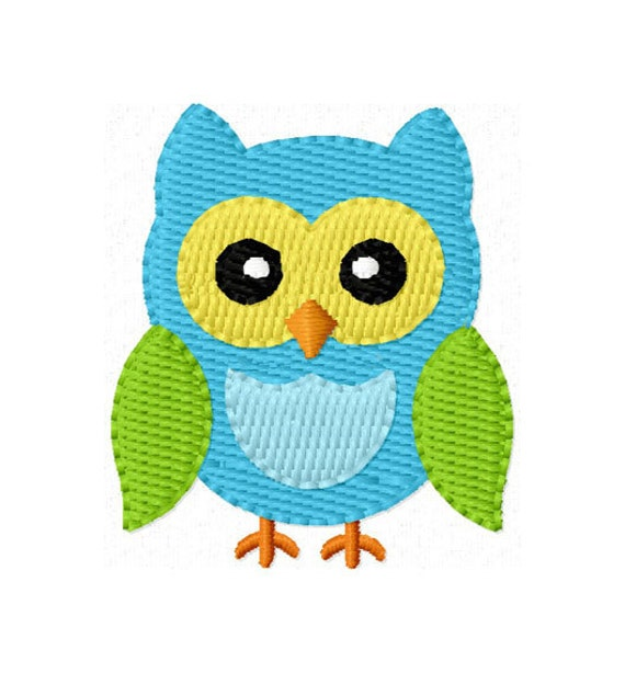 Instant Download Owl Mini Filled Stitches Machine Embroidery