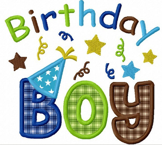 Instant Download Birthday Boy Applique Machine Embroidery