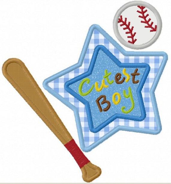 Instant Download Cutest Boy Baseball Applique Machine Embroidery Design NO:1178