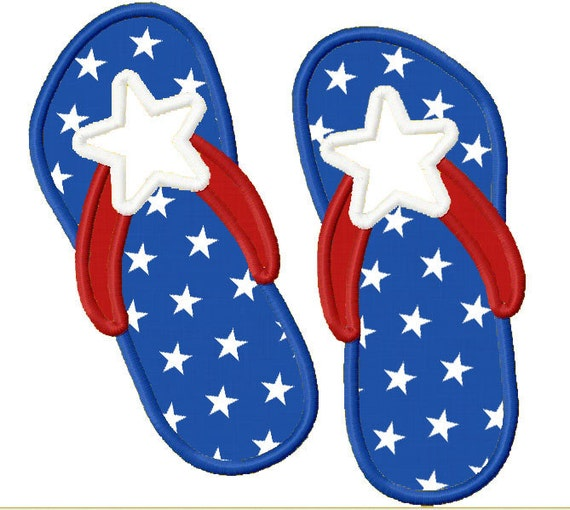 Instant Download Flag FlipFlops Applique Machine Embroidery Design NO:1184