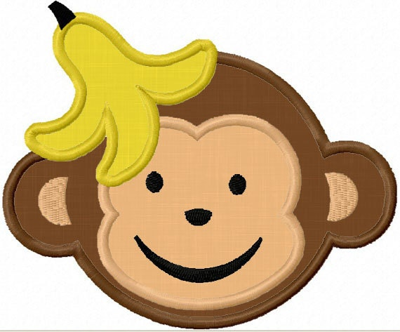 Instant Download Cute Monkey Applique Machine Embroidery