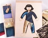 Wooden Doll, Dress Up, Kit,  Wood and Fabric, Fashion Doll,Creativity Kit