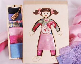 Girl Dress Up Creativity Kit,  Wood and Fabric, Fashion Toy