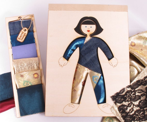 Wooden Doll, Dress Up, Kit,  Wood and Fabric, Fashion Doll,Creativity Kit