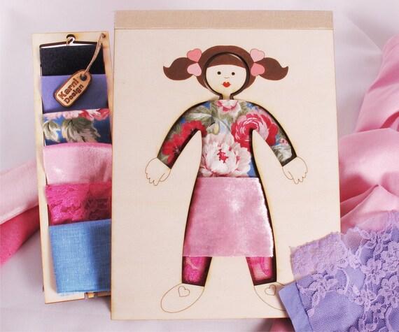 Girl Dress Up Creativity Kit,  Wood and Fabric, Fashion Toy