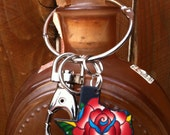 Texas Red Rose Tattoo Keychain
