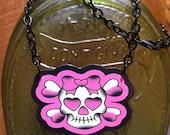 Pink Traditional Tattoo Skull & Cross Bones Necklace