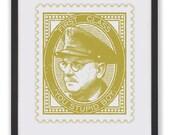 YOU STUPID BOY - 50 x 40cm Captain Mainwaring Stamp Print in Khaki