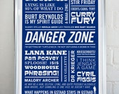 DANGER ZONE - Archer Typographic Print in Royal Blue. Available in A2 or A3.