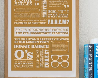 So It's Goodnight From Me - Two Ronnies Typographic Print in Caramel. Available in A2 or A3.