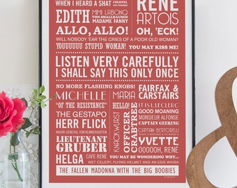 LISTEN VERY CAREFULLY -  Allo, Allo Typographic Print in Antique Red. Available in A2 or A3