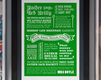 Go on, Go on, Go on - Father Ted Typographic Print in Emerald Green. Available in A2 or A3.