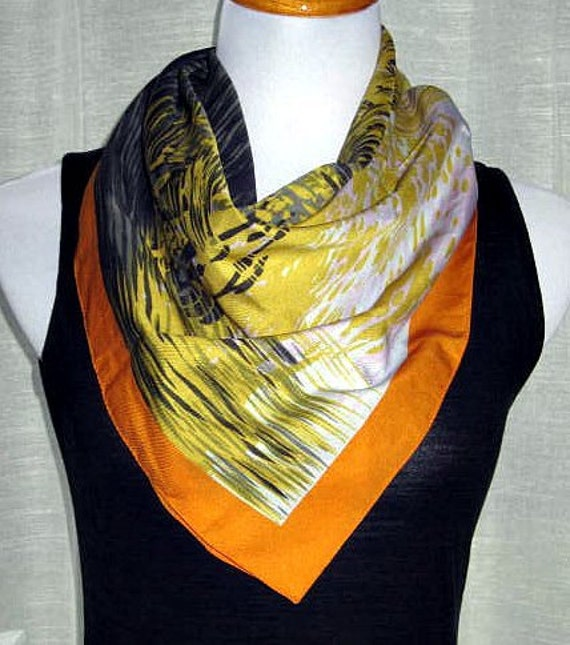 Woman's Scarf, Vintage Scarves, Fall Scarf,  Italian Scarves, Square Scarf, Retro Accessories, Blue and Yellow Scarf