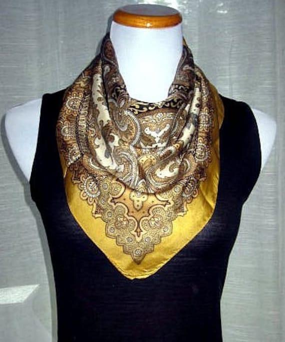 Liberty of London Scarf, Vintage Silk Scarf, Head Scarf, Fall Scarf, Golden Yellow Silk Scarf, Square Silk Scarves