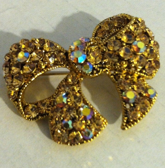 Gold or Amber Crystal Broach