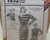 Vintage 1980 Stretch and Sew Pattern 1532 for Women's Boatneck Dress and Top Designed Exclusively for Knit Fabrics by Ann Person