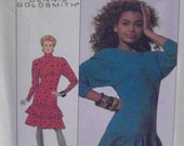 Vintage 1988 Simplicity 8794 UNCUT Pattern for Misses' Tiered, Ruffled Dress in Size 6 and Size 6 Petite