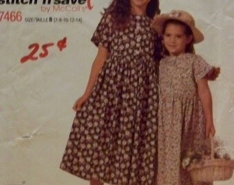 """McCall's 7466 """"Easy Stitch 'n Save"""" Pattern Children and Girls' Dress in Size 7"""