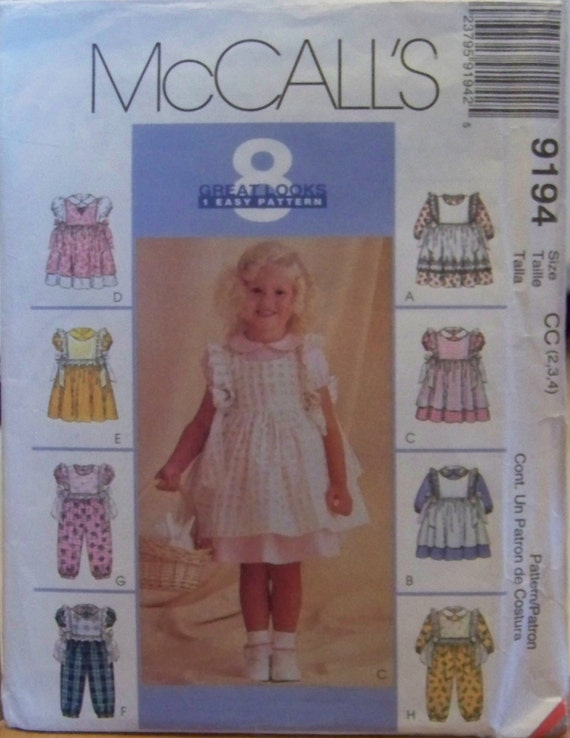 McCall's 9194 Toddler's Dress, Jumpsuit, Pinafore, and Pinny Pattern, Sizes 2 - 4