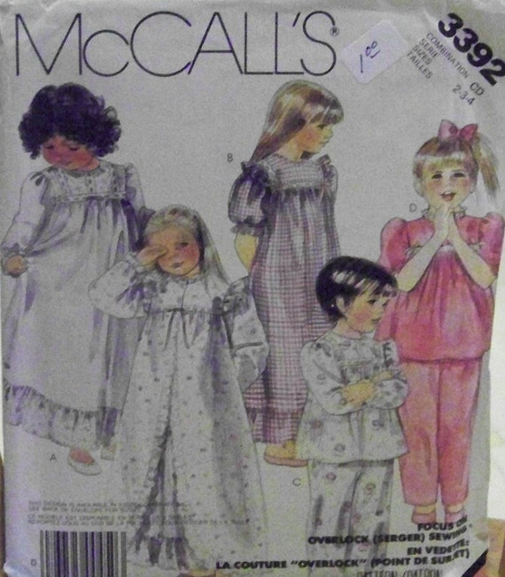 Vintage 1987 McCall's 3392 Pattern for Girls' Robe, Nightgown, and Pajamas in Sizes 2-3-4