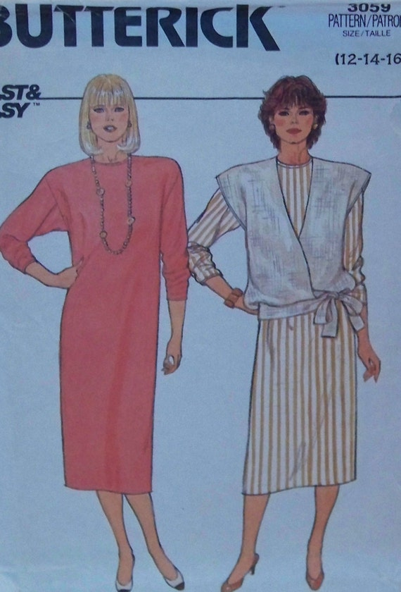 """Vintage 1985 Butterick 3059 """"Fast & Easy"""" Pattern for Misses' Dress and Vest in Sizes 12-14-16"""