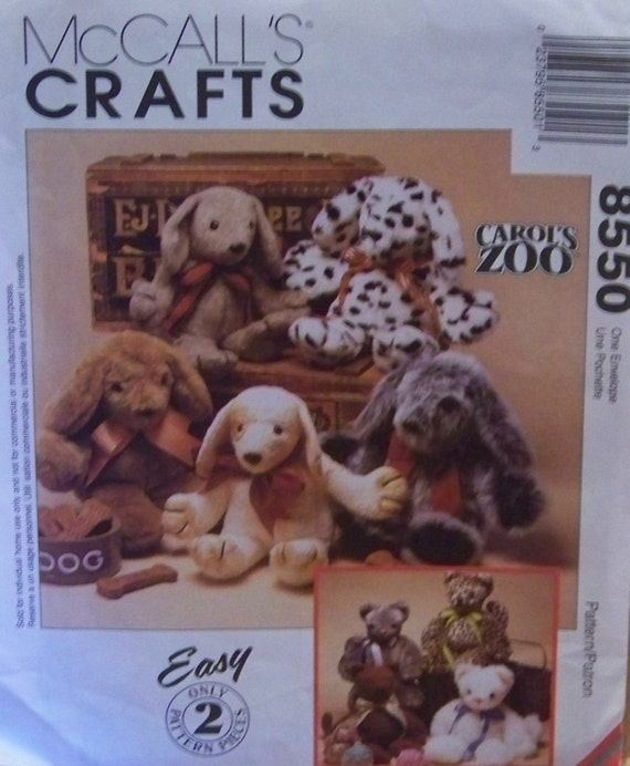 """1996 McCall's Crafts 8550 """"Carol's Zoo"""" Easy Pattern for a Stuffed Cat and a Puppy"""