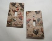French Country Rooster Light Switch Covers - set of 2