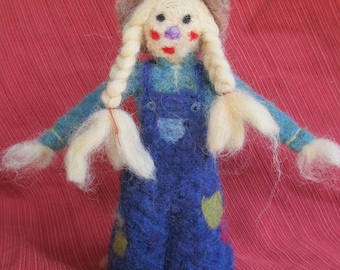 Needle Felted Scarecrow Girl