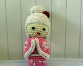 Kokeshi doll, The Blonde - crochet amigurumi doll in white, pink and red