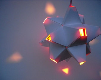 Paper Origami Lamp. White and Red. 48 sides. (Polyhedra Luminaria Series)