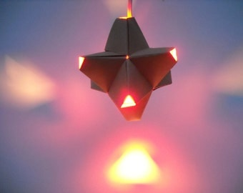 Paper Origami Lamp. Tan and Orange. 24 sides. (Polyhedra Luminaria Series)