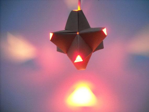 Paper Origami Lamp. Tan and Orange. 24 sides. (Polyhedra Luminaria Series)