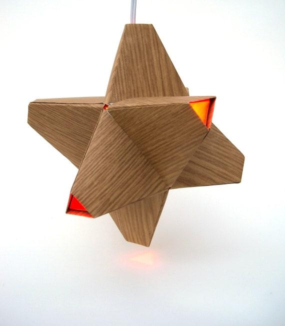 Paper Origami Lamp. Wood Grain and Orange. 24 sides. (Polyhedra Luminaria Series)