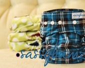 Aqua Tartan One Size Pocket  Cloth Diaper with Adjustable Elastic, comes with insert