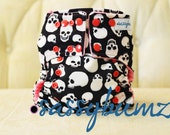 Pink Skulls One Size Cloth Diaper with Pocket, comes with insert YOU PICK Adjustable Elastic or 3 Snap Rise