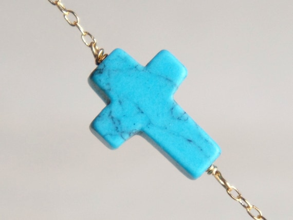 Turquoise sideways cross necklace- delicate 14k gold filled chain- available in Sterling Silver- modern minimalist jewelry