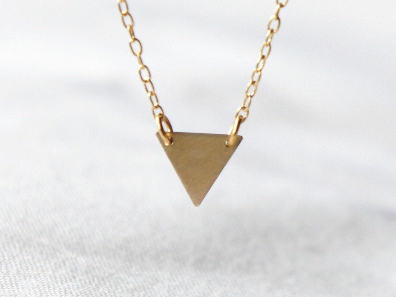 Foyer Minimalist Jewellery : Gold triangle necklace geometric jewelry modern by