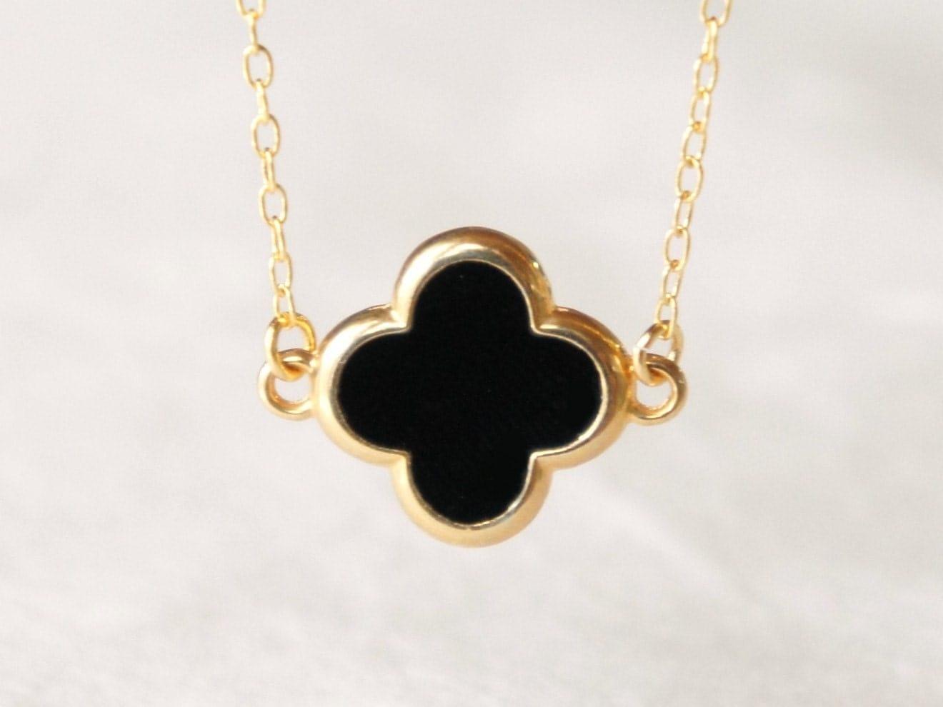 black four leaf clover necklace delicate 14k gold by
