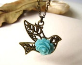 Antique Brass Dove Filigree with Turquoise Rose Pendant Necklace